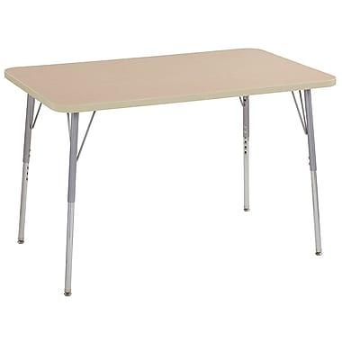 "ECR4Kids 30"" x 48"" Rectangular Contour Activity Table Maple/Maple/Silver Standard Leg (14710-MPMPSVSS)"