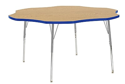 "ECR4Kids 60"" Flower Contour Activity Table Oak/Blue/Silver Standard Legs (14702-OKBLSVSS)"