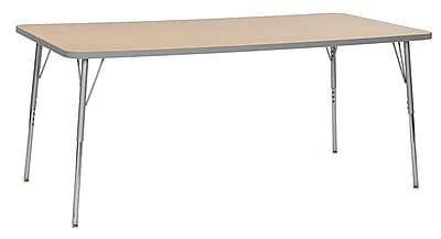 "ECR4Kids 36""W x 72""L Rectangular Contour Activity Table Maple/Light Grey/Silver Standard Legs (14713-MPLGSVSS)"
