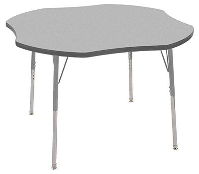 "ECR4Kids 48"" Clover Contour Activity Table Grey/Grey/Silver Standard Legs (14701-GYGYSVSS)"