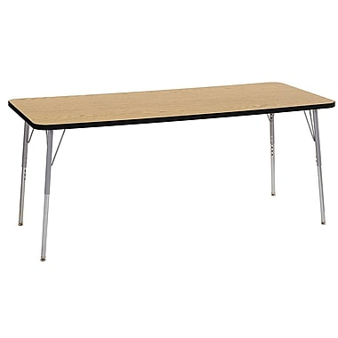 "ECR4Kids 30"" x 72"" Rectangular Contour Activity Table Oak/Black/Silver Standard Leg (14712-OKBKSVSS)"