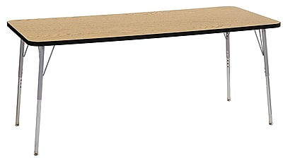 "ECR4Kids 30"" x 72"" Rectangular Contour Activity Table Oak/Black/Silver Standard Leg (14712-OKBKSVSS)"