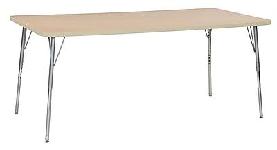 """ECR4Kids 36""""W x 72""""L Rectangular Contour Activity Table Maple/Maple/Silver Standard Legs (14713-MPMPSVSS)"""