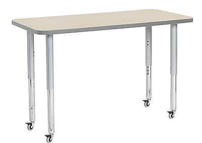 "ECR4Kids 24""W x 48""L Rectangular Contour Activity Table Maple/Light Grey/Silver Super Legs (14707-MPLGSVSL)"