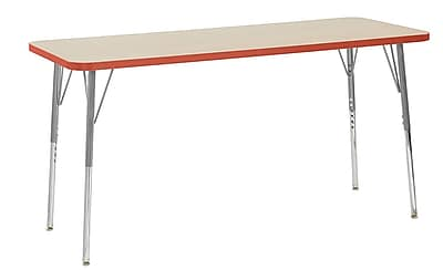 "ECR4Kids 24""W x 60""L Rectangular Contour Activity Table Maple/Tangerine/Silver Standard Legs (14708-MPTGSVSS)"