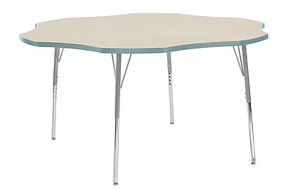 "ECR4Kids 60"" Flower Contour Activity Table Maple/Seafoam/Silver Standard Legs (14702-MPSFSVSS)"