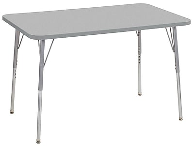 "ECR4Kids 30""x48"" Rectangular Contour Activity Table Grey/Light Grey/Silver Standard Legs (14710-GYLGSVSS)"