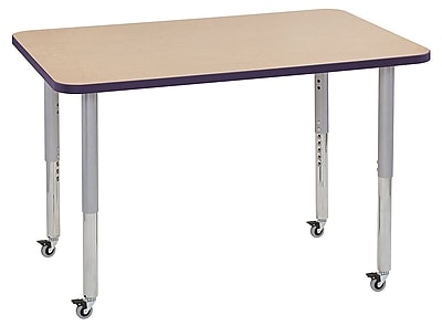 "ECR4Kids 30"" x 48"" Rectangular Contour Activity Table Maple/Eggplant/Silver Super Leg (14710-MPEPSVSL)"
