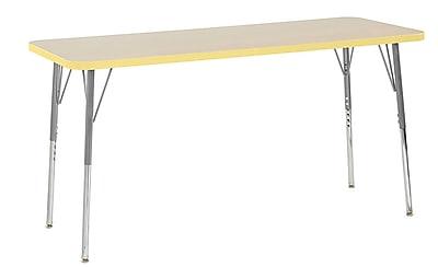 "ECR4Kids 24"" x 60"" Rectangular Contour Activity Table Maple/Squash/Silver Standard Leg (14708-MPSQSVSS)"