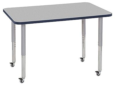 "ECR4Kids 30""x48"" Rectangular Contour Activity Table Grey/Navy/Silver Super Legs (14710-GYNVSVSL)"