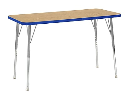 "ECR4Kids 24"" x 48"" Rectangular Contour Activity Table Oak/Blue/Silver Standard Leg (14707-OKBLSVSS)"