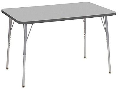 "ECR4Kids 30""x48"" Rectangular Contour Activity Table Grey/Grey/Silver Standard Legs (14710-GYGYSVSS)"