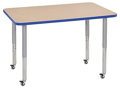 """ECR4Kids 30"""" x 48"""" Rectangular Contour Activity Table Maple/Blue/Silver Super Leg (14710-MPBLSVSL)"""