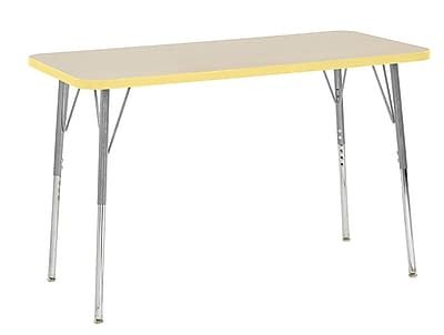 "ECR4Kids 24"" x 48"" Rectangular Contour Activity Table Maple/Squash/Silver Standard Leg (14707-MPSQSVSS)"