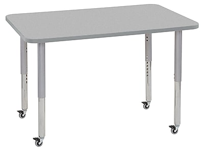 "ECR4Kids 30""x48"" Rectangular Contour Activity Table Grey/Light Grey/Silver Super Legs (14710-GYLGSVSL)"