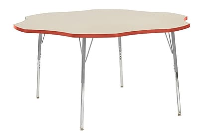"ECR4Kids 60"" Flower Contour Activity Table Maple/Tangerine/Silver Standard Legs (14702-MPTGSVSS)"