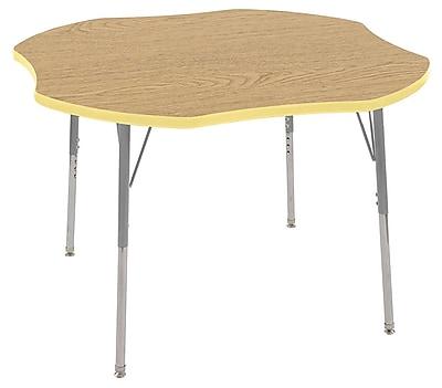 """ECR4Kids 48"""" Clover Contour Activity Table Oak/Squash/Silver Standard Legs (14701-OKSQSVSS)"""