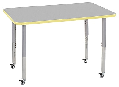 "ECR4Kids 30""x48"" Rectangular Contour Activity Table Grey/Squash/Silver Super Legs (14710-GYSQSVSL)"