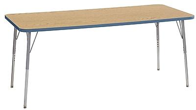 "ECR4Kids 30""W x 72""L Rectangular Contour Activity Table Oak/Powder Blue/Silver Standard Legs (14712-OKPBSVSS)"