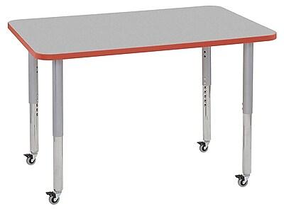 "ECR4Kids 30""x48"" Rectangular Contour Activity Table Grey/Tangerine/Silver Super Legs (14710-GYTGSVSL)"