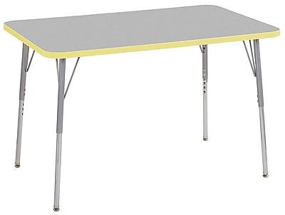 "ECR4Kids 30""x48"" Rectangular Contour Activity Table Grey/Squash/Silver Standard Legs (14710-GYSQSVSS)"