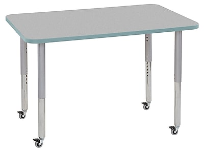 "ECR4Kids 30""x48"" Rectangular Contour Activity Table Grey/Seafoam/Silver Super Legs (14710-GYSFSVSL)"