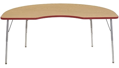 "ECR4Kids 48"" Kidney Contour Activity Table Oak/Red/Silver Standard Legs (14704-OKRDSVSS)"