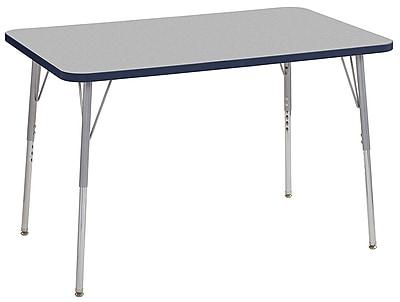 "ECR4Kids 30""x48"" Rectangular Contour Activity Table Grey/Navy/Silver Standard Legs (14710-GYNVSVSS)"