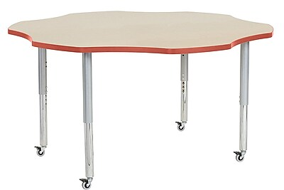 "ECR4Kids 60"" Flower Contour Activity Table Maple/Tangerine/Silver Super Legs (14702-MPTGSVSL)"