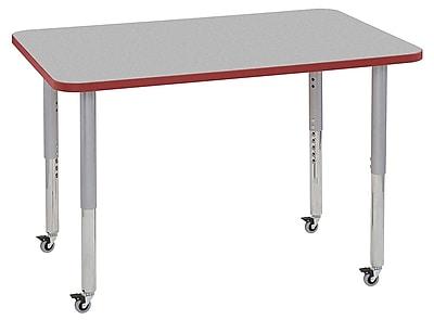 "ECR4Kids 30"" x 48"" Rectangular Contour Activity Table Grey/Red/Silver Super Leg (14710-GYRDSVSL)"