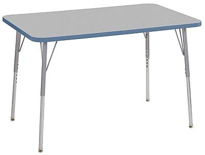 """ECR4Kids 30""""x48"""" Rectangular Contour Activity Table Grey/Powder Blue/Silver Standard Legs (14710-GYPBSVSS)"""