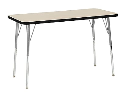 "ECR4Kids 24""W x 48""L Rectangular Contour Activity Table Maple/Black/Silver Standard Legs (14707-MPBKSVSS)"