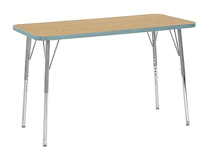 "ECR4Kids 24"" x 48"" Rectangular Contour Activity Table Oak/Seafoam/Silver Standard Leg (14707-OKSFSVSS)"