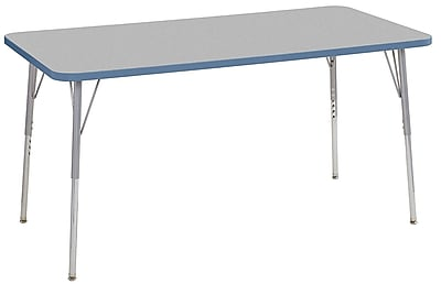 "ECR4Kids 30"" x 60"" Rectangular Contour Activity Table Grey/Powder Blue/Silver Standard Leg (14711-GYPBSVSS)"