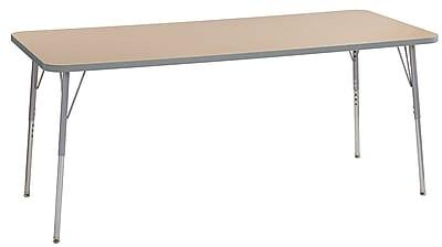 "ECR4Kids 30"" x 72"" Rectangular Contour Activity Table Maple/Light Grey/Silver Standard Leg (14712-MPLGSVSS)"