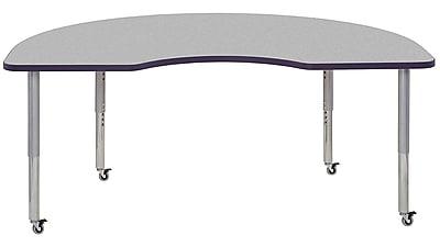 "ECR4Kids 24"" x 36"" Rectangular Contour Activity Table Grey/Eggplant/Silver Super Leg (14706-GYEPSVSL)"