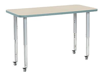 "ECR4Kids 24"" x 48"" Rectangular Contour Activity Table Maple/Seafoam/Silver Super Leg (14707-MPSFSVSL)"