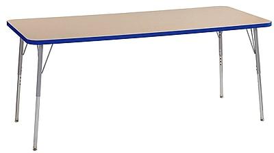 "ECR4Kids 30"" x 72"" Rectangular Contour Activity Table Maple/Blue/Silver Standard Leg (14712-MPBLSVSS)"