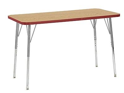 """ECR4Kids 24"""" x 48"""" Rectangular Contour Activity Table Oak/Red/Silver Standard Leg (14707-OKRDSVSS)"""