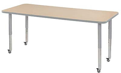 "ECR4Kids 30"" x 72"" Rectangular Contour Activity Table Maple/Light Grey/Silver Super Leg (14712-MPLGSVSL)"