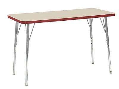 "ECR4Kids 24"" x 48"" Rectangular Contour Activity Table Maple/Red/Silver Standard Leg (14707-MPRDSVSS)"