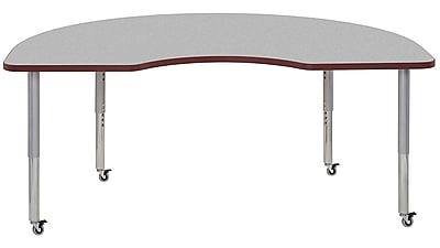 "ECR4Kids 24"" x 36"" Rectangular Contour Activity Table Grey/Burgundy/Silver Super Leg (14706-GYBYSVSL)"