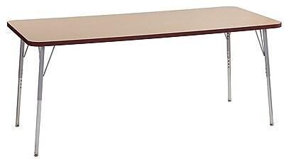 "ECR4Kids 30"" x 72"" Rectangular Contour Activity Table Maple/Burgundy/Silver Standard Leg (14712-MPBYSVSS)"
