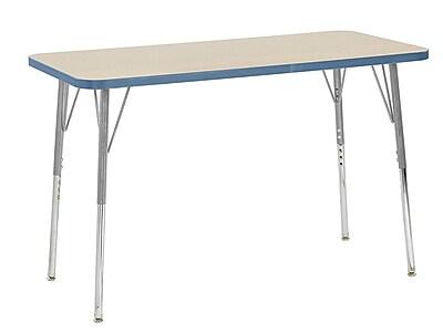 """ECR4Kids 24"""" x 48"""" Rectangular Contour Activity Table MP/Powder Blue/Silver Standard Leg (14707-MPPBSVSS)"""