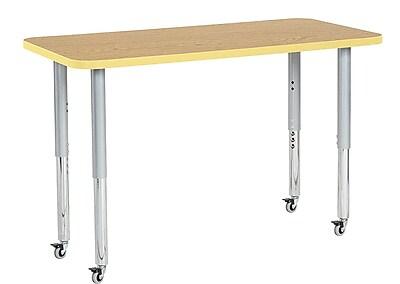 """ECR4Kids 24"""" x 48"""" Rectangular Contour Activity Table Oak/Squash/Silver Super Leg (14707-OKSQSVSL)"""