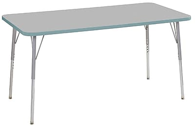 """ECR4Kids 30"""" x 60"""" Rectangular Contour Activity Table Grey/Seafoam/Silver Standard Leg (14711-GYSFSVSS)"""