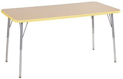 "ECR4Kids 30"" x 60"" Rectangular Contour Activity Table Maple/Squash/Silver Standard Leg (14711-MPSQSVSS)"