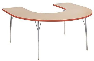 "ECR4Kids 60""W x 66""L Horseshoe Contour Activity Table Maple/Tangerine/Silver Standard Legs (14703-MPTGSVSS)"