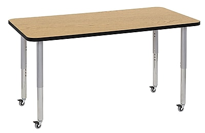 "ECR4Kids 30"" x 60"" Rectangular Contour Activity Table Oak/Black/Silver Super Leg (14711-OKBKSVSL)"