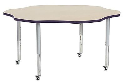 """ECR4Kids 60"""" Flower Contour Activity Table Maple/Eggplant/Silver Super Legs (14702-MPEPSVSL)"""